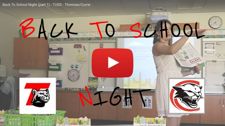 Graphic cover for the video about back to school night at Currie and Thorman schools