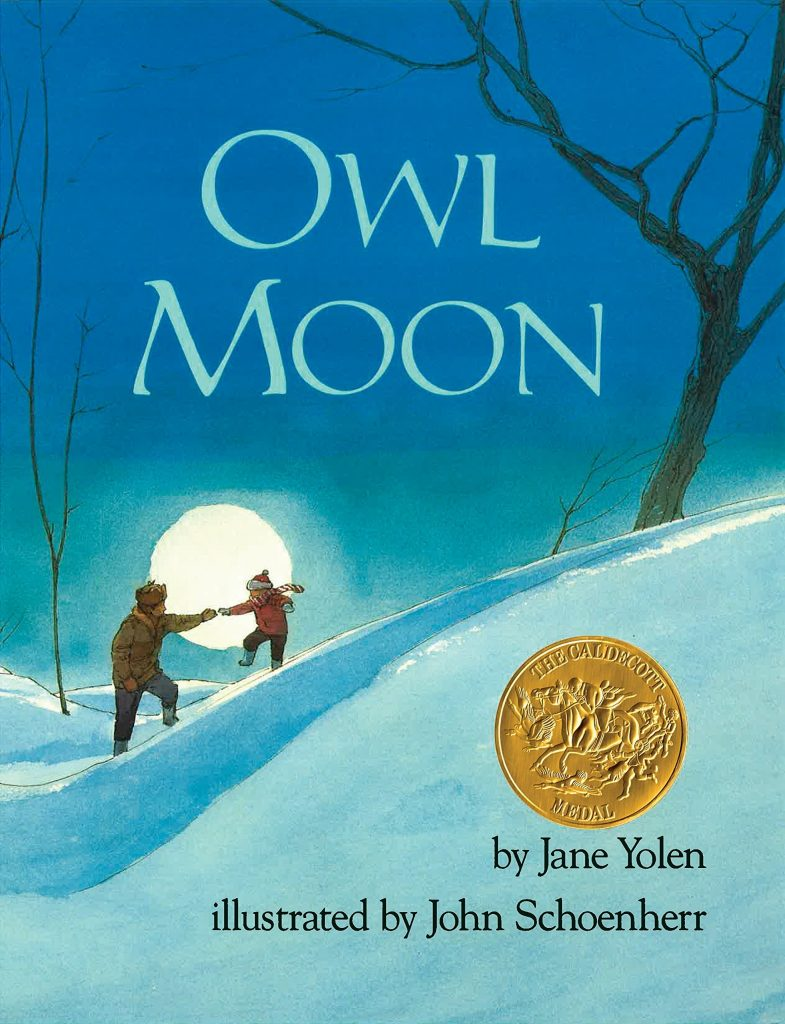 Cover to the book Owl Moon, a parent is reaching for the hand of a child coming down a snowy hill at night. Illustrated by John Schoenherr.