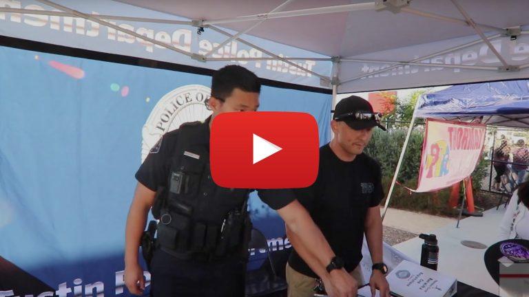 Officer A. OK and David Valencia explaining the run with a cop program