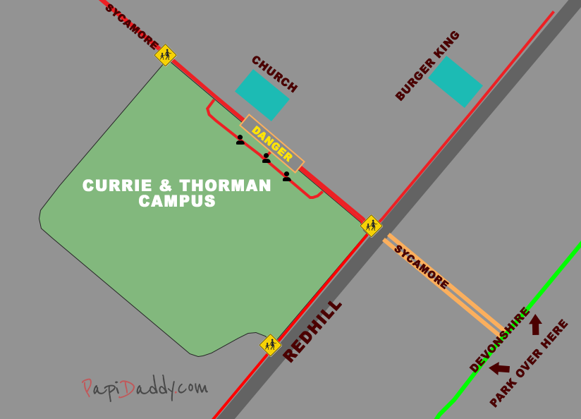 Map of the Currie and Thorman campus. The major streets nearby are highlighted as well as the important points of interest for parents, like crosswalks and available parking.